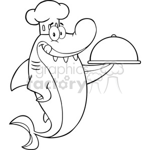 Royalty Free RF Clipart Illustration Black And White Chef Shark Cartoon Character Holding A Platter clipart. Commercial use image # 395522