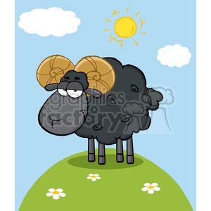 Royalty Free RF Clipart Illustration Cute Black Ram Sheep Cartoon Mascot Character On A Hill clipart. Royalty-free image # 395532