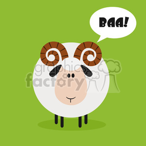 8248 Royalty Free RF Clipart Illustration Cute Ram Sheep Modern Flat Design Vector Illustration With Speech Bubble And Text clipart. Royalty-free image # 395552
