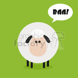 8218 Royalty Free RF Clipart Illustration Cute Sheep Modern Flat Design Vector Illustration With Speech Bubble And Tex clipart. Royalty-free image # 395562