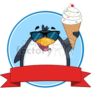 Royalty Free RF Clipart Illustration Smiling Penguin With Sunglasses And Ice Cream Circle Banner clipart. Commercial use image # 395592