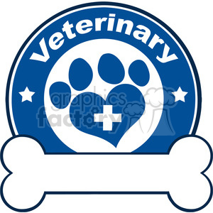 Illustration Veterinary Blue Circle Label Design With Love Paw Print,Cross And Bone Under Text clipart. Commercial use image # 395612