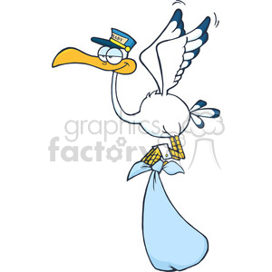Royalty Free RF Clipart Illustration Cute Cartoon Stork Delivery A Baby Boy clipart. Royalty-free image # 395622