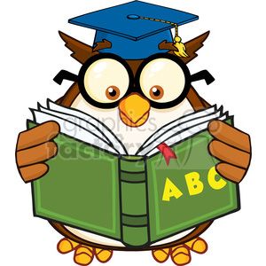Royalty Free RF Clipart Illustration Wise Owl Teacher Cartoon Mascot Character Reading A ABC Book clipart. Commercial use image # 395632