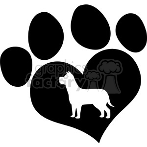 Royalty Free RF Clipart Illustration Black Love Paw Print With Dog Silhouette clipart. Commercial use image # 395642
