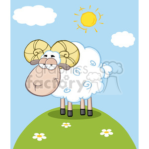 Royalty Free RF Clipart Illustration Cute Ram Sheep Cartoon Mascot Character On A Hill clipart. Royalty-free image # 395652