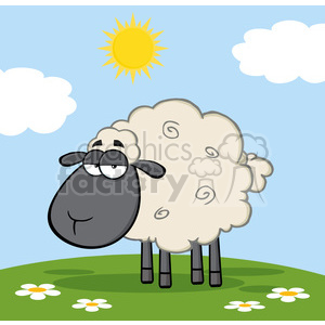 Royalty Free RF Clipart Illustration Cute Black Head Sheep On A Meadow clipart. Royalty-free image # 395672