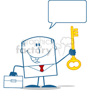 Royalty Free RF Clipart Illustration Happy Businessman With Briefcase Holding A Golden Key Monochrome Cartoon Character With Speech Bubble clipart. Royalty-free image # 395722