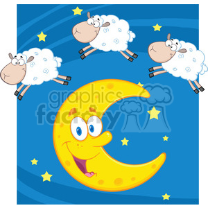 Royalty Free RF Clipart Illustration Three Funny Counting Sheep Over A Moon clipart. Commercial use image # 395742