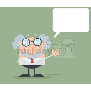 Royalty Free RF Clipart Illustration Funny Scientist Or Professor Waving With Speech Bubble Flat Design