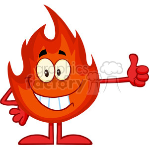 Royalty Free RF Clipart Illustration Smiling Fire Cartoon Mascot Character Giving A Thumb Up clipart. Royalty-free image # 395792