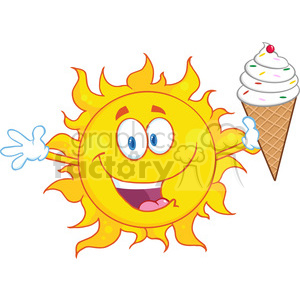 Royalty Free RF Clipart Illustration Happy Sun Cartoon Mascot Character Holding A Ice Cream clipart. Royalty-free image # 395802