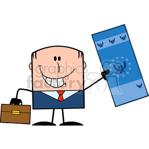Royalty Free RF Clipart Illustration Lucky Businessman With Briefcase Holding A Euro Bill Cartoon Character clipart. Royalty-free image # 395822