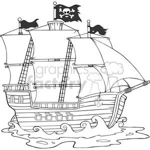 Royalty Free RF Clipart Illustration Pirate Ship Sailing Under Jolly Roger Flag clipart. Royalty-free image # 395832