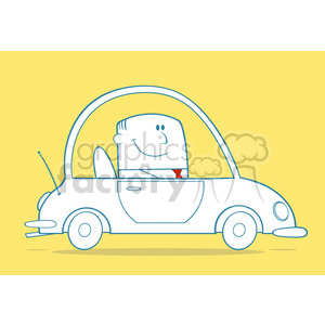 Royalty Free RF Clipart Illustration Businessman Driving Car To Work Monochrome Cartoon Character On Yellow Background