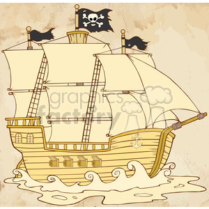cartoon funny comical silly pirate ship