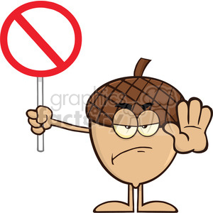 Royalty Free RF Clipart Illustration Angry Acorn Cartoon Mascot Character Holding Up A Stop Sign clipart. Royalty-free image # 395882