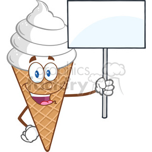 Royalty Free RF Clipart Illustration Ice Cream Cartoon Mascot Character Holding A Blank Sign clipart. Royalty-free image # 395902
