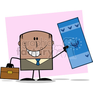 Royalty Free RF Clipart Illustration Lucky African American Businessman With Briefcase Holding A Euro Bill Cartoon Character On Background clipart. Royalty-free image # 395932