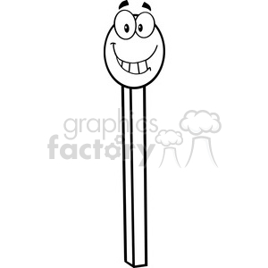 Royalty Free RF Clipart Illustration Black And White Smiling Match Stick Cartoon Mascot Character clipart. Commercial use image # 395952