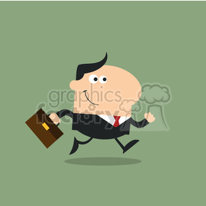 8268 Royalty Free RF Clipart Illustration Smiling Manager With Briefcase Running To Work Modern Flat Design Vector Illustration