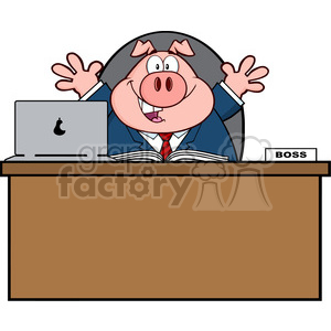 Royalty Free RF Clipart Illustration Businessman Pig Cartoon Mascot Character Behind Desk clipart. Royalty-free image # 396024