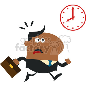8273 Royalty Free RF Clipart Illustration Hurried African American Manager Running Past A Clock Modern Flat Design Vector Illustration clipart. Commercial use image # 396034
