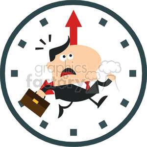 8275 Royalty Free RF Clipart Illustration Hurried Manager Running Past A Clock Modern Flat Design Vector Illustration clipart. Commercial use image # 396053