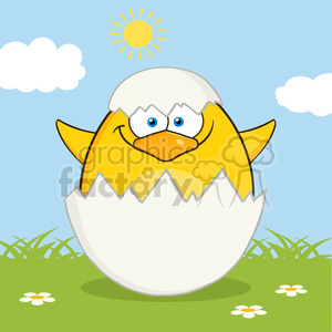 8623 Royalty Free RF Clipart Illustration Surprise Yellow Chick Cartoon Character Out Of An Egg Shell Vector Illustration With Background clipart. Commercial use image # 396103