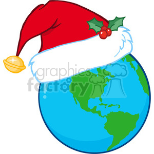 8210 Royalty Free RF Clipart Illustration Santa Hat On A Earth clipart. Royalty-free image # 396133