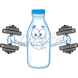 Royalty Free RF Clipart Illustration Smiling Milk Bottle Character Training With Dumbbells clipart. Commercial use image # 396163