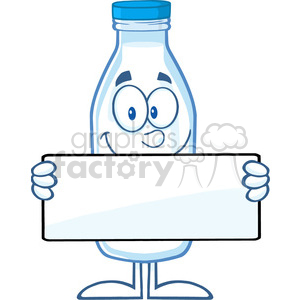Royalty Free RF Clipart Illustration Funny Milk Bottle Cartoon Mascot Character Holding A Banner