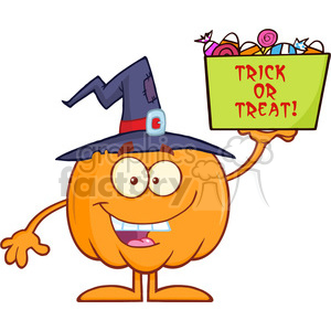 Royalty Free RF Clipart Illustration Smiling Halloween Pumpkin With A Witch Hat Mascot Character Holds A Box With Candys And Text clipart. Commercial use image # 396183