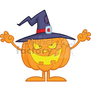 Scaring Halloween Pumpkin With A Witch Hat clipart. Commercial use image # 396203