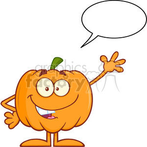 Royalty Free RF Clipart Illustration Funny Halloween Pumpkin Mascot Character Waving With Speech Bubble clipart. Royalty-free image # 396213
