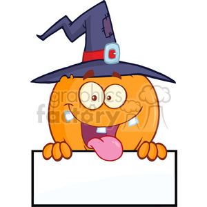 8892 Royalty Free RF Clipart Illustration Happy Witch Pumpkin Cartoon Character Over A Blank Sign Vector Illustration Isolated On White clipart. Commercial use image # 396233