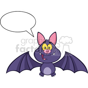8944 Royalty Free RF Clipart Illustration Happy Vampire Bat Cartoon Character Flying With Speech Bubble Vector Illustration Isolated On White clipart. Royalty-free image # 396243