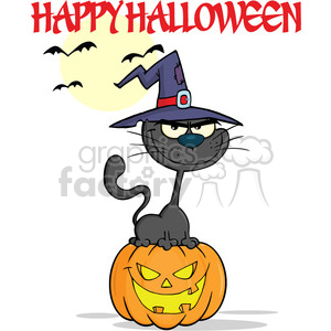 Royalty Free RF Clipart Illustration Halloween Black Cat With A Witch Hat On Pumpkin Cartoon Character And Text clipart. Royalty-free image # 396263