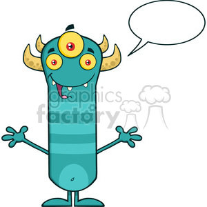 8924 Royalty Free RF Clipart Illustration Happy Horned Blue Monster Cartoon Character With Welcoming Open Arms And Speech Bubble Vector Illustration Isolated On White