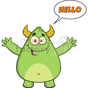 8931 Royalty Free RF Clipart Illustration Happy Horned Green Monster Cartoon Character With Welcoming Open Arms And Speech Bubble Hello Text Vector Illustration Isolated On White clipart. Royalty-free image # 396283