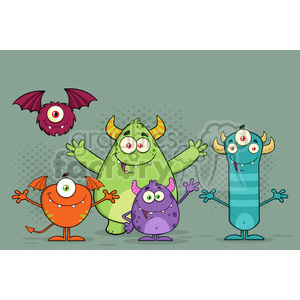 8939 Royalty Free RF Clipart Illustration Happy Funny Monsters Cartoon Characters Vector Illustration With Background