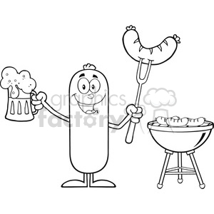 8468 Royalty Free RF Clipart Illustration Black And White Happy Sausage Cartoon Character Holding A Beer And Weenie Next To BBQ Vector Illustration Isolated On White clipart. Royalty-free image # 396333