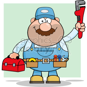 8536 Royalty Free RF Clipart Illustration Mechanic Cartoon Character With Wrench And Tool Box Vector Illustration With Background clipart. Commercial use image # 396335