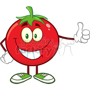 8395 Royalty Free RF Clipart Illustration Smiling Tomato Cartoon Mascot Character Giving A Thumb Up Vector Illustration Isolated On White clipart. Commercial use image # 396393