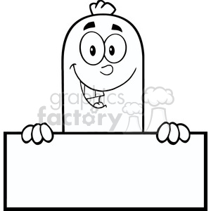 8477 Royalty Free RF Clipart Illustration Black And White Smiling Sausage Cartoon Character Over A Blank Sign Vector Illustration Isolated On White clipart. Commercial use image # 396439