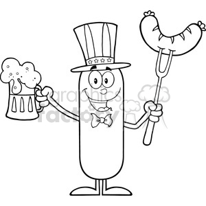 8439 Royalty Free RF Clipart Illustration Black And White Patriotic Sausage Cartoon Character Holding A Beer And Weenie On A Fork Vector Illustration Isolated On White