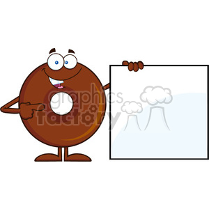 8720 Royalty Free RF Clipart Illustration Chocolate Donut Cartoon Character Showing A Blank Sign Vector Illustration Isolated On White