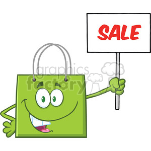 8764 Royalty Free RF Clipart Illustration Green Shopping Bag Cartoon Character Holding Up A Blank Sign With Text Vector Illustration Isolated On White clipart. Royalty-free image # 396475