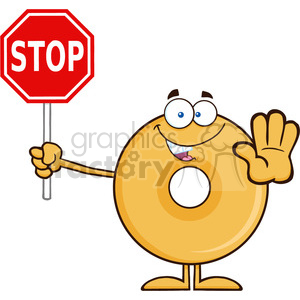 8648 royalty free rf clipart illustration smiling donut cartoon character holding a stop sign vector illustration isolated on white