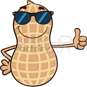 8747 Royalty Free RF Clipart Illustration Smiling Peanut Cartoon Mascot Character With Sunglasses Giving A Thumb Up Vector Illustration Isolated On White clipart. Royalty-free image # 396511
